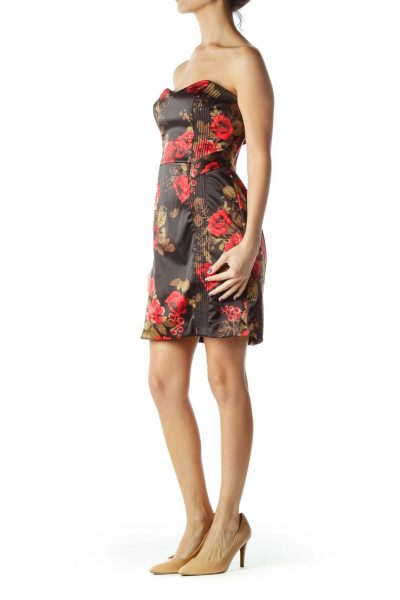 Brown Red Flower Print Cocktail Dress