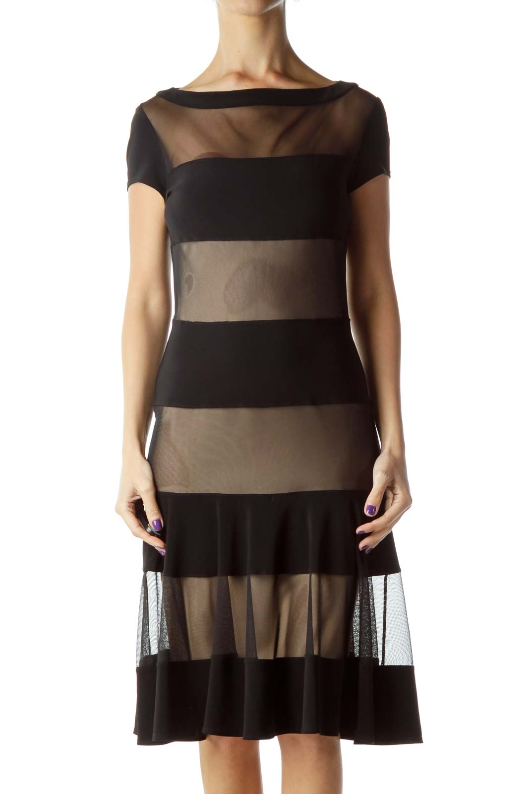 Black Beige Striped Bodycon Dress