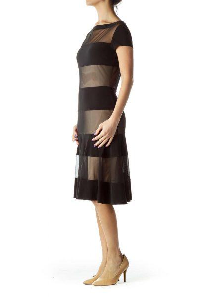 Black Beige Striped Bodycon Dress