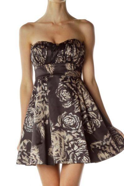 Brown Flower Print Empire Waist Cocktail Dress