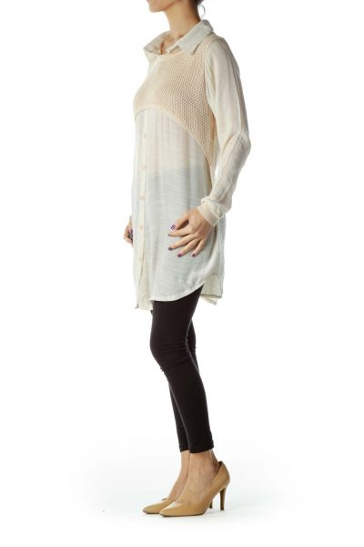 Beige Blouse with Cable Knit Detail