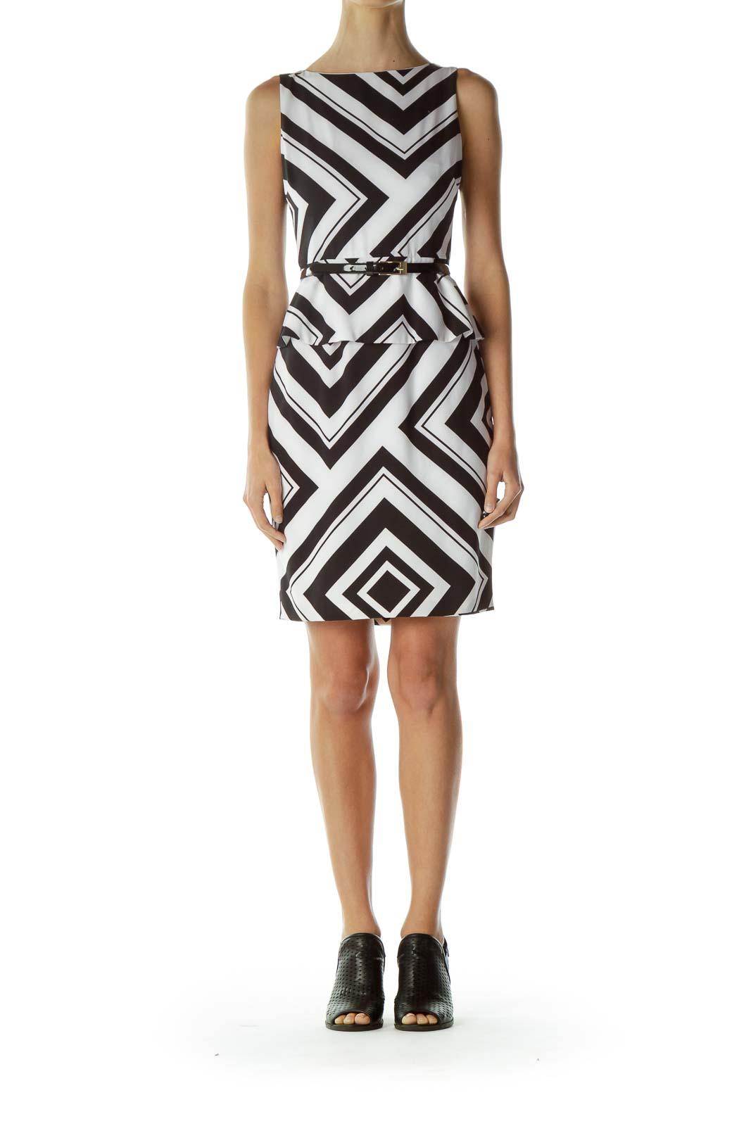 Black White Print Belted Sheath Dress