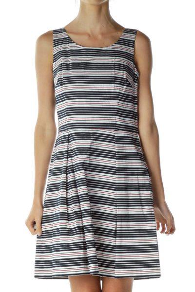 Navy White Red Stripe Sleeveless Dress