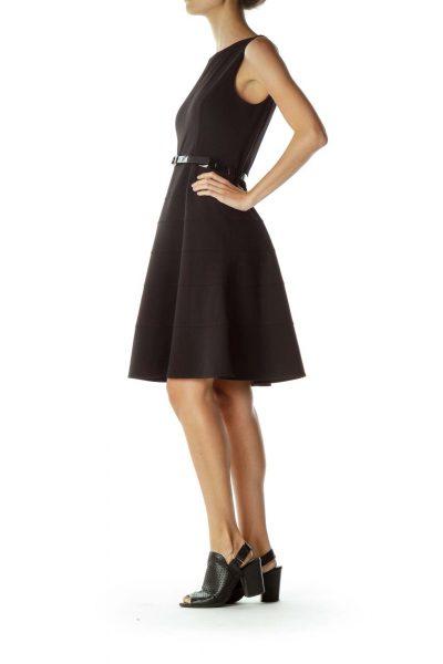 Black Belted A-Line Dress