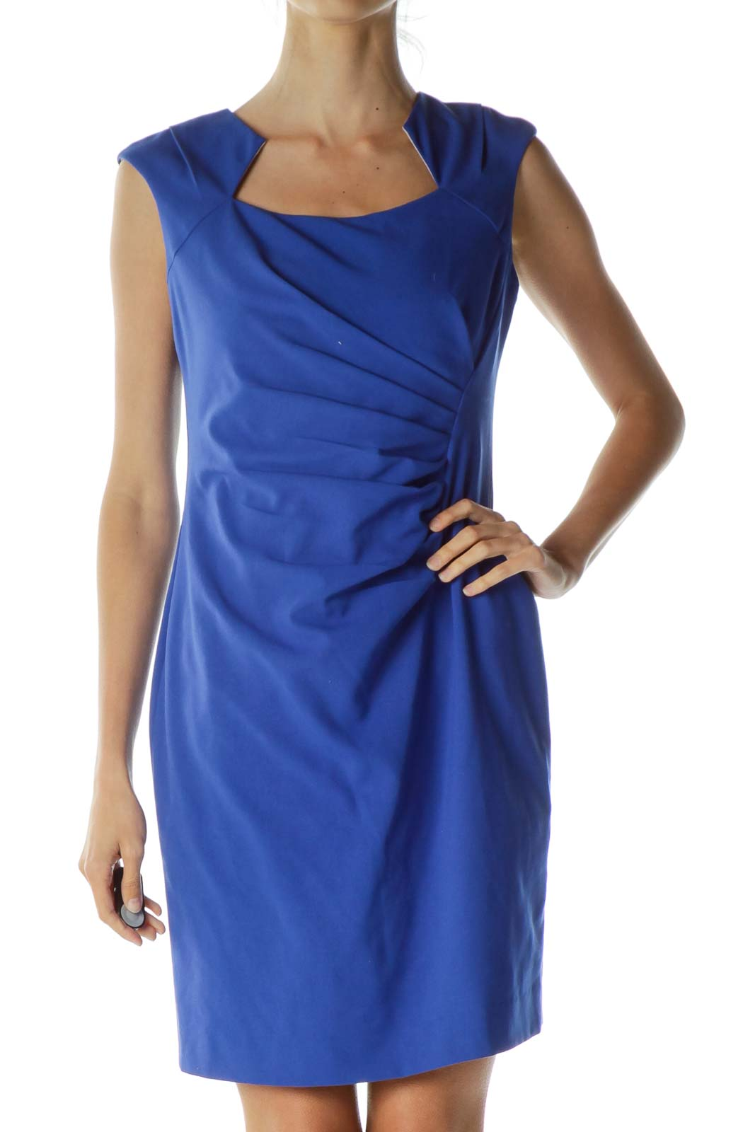 Blue Ruched Cap Sleeve Dress