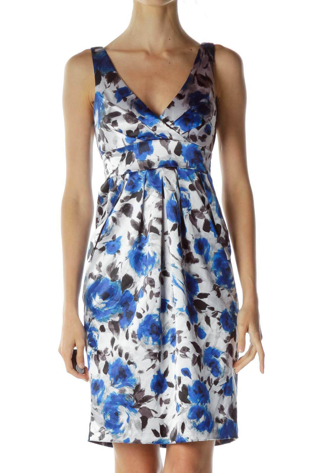 Blue Gray Satin Print Sheath Dress