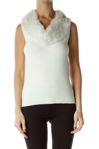 Cream Rabbit Fur Trim Vest