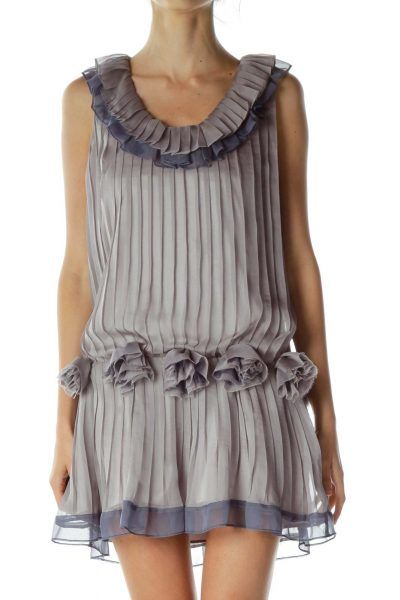 Purple Pleated Dress with Flower Detail