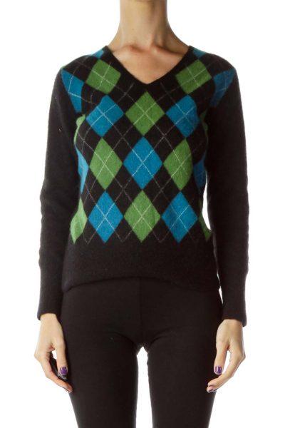 Black Argyle Cashmere Sweater