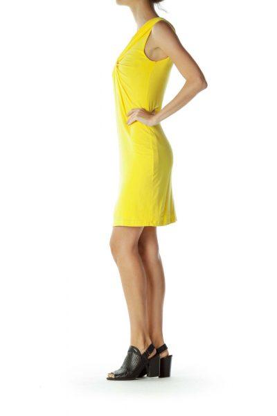 Yellow Scrunch Detailed Jersey Dress
