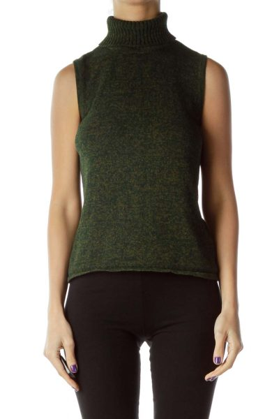 Green Marl Turtle Neck Vest