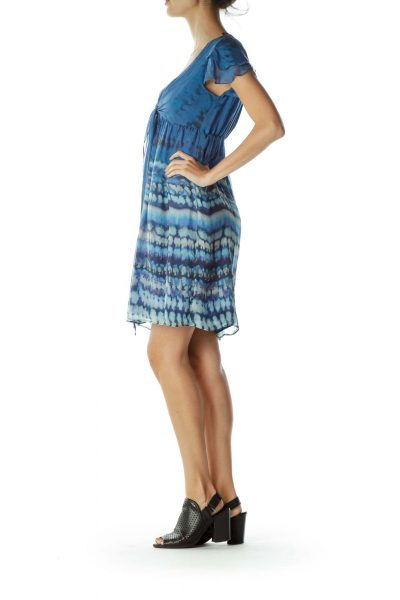 Blue Watercolor Print Ruffle Dress