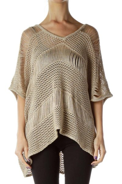 Cream Fringe Cable Knit Top