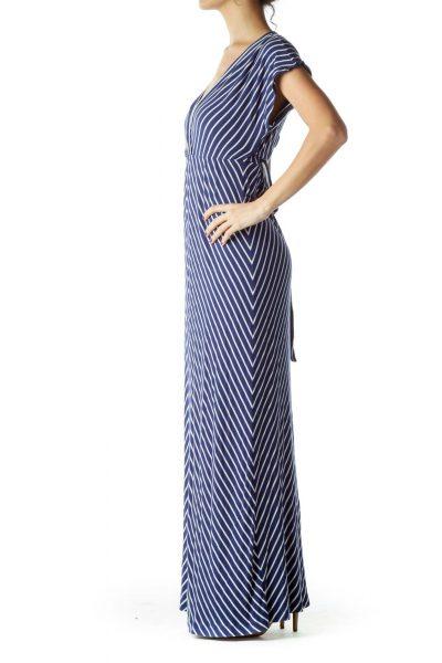 Navy White Maxi Dress