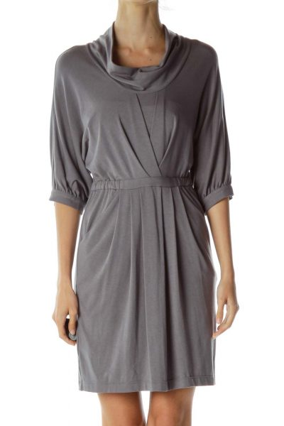 Gray Cowl Neck Pocketed Jersey Dress