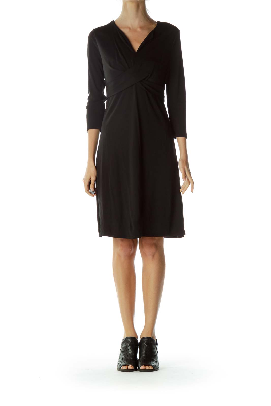 Black V-Neck Wrap Detail Work Dress
