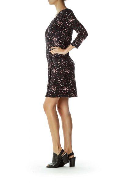 Black Polka-Dot Gathered Jersey Dress