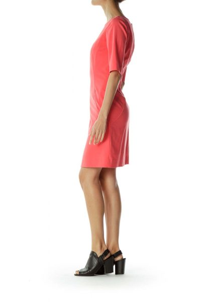 Pink Sheath Pocketed Work Dress