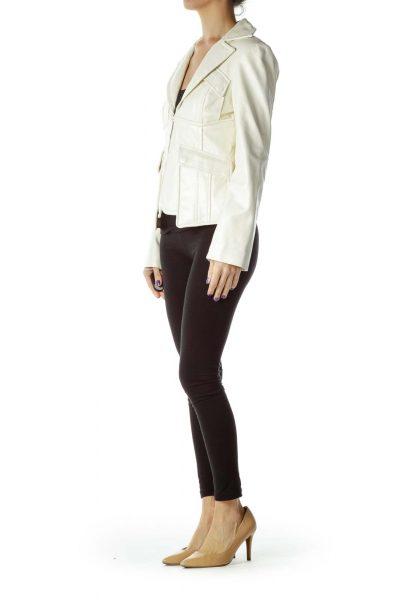 Cream Metallic Leather Jacket
