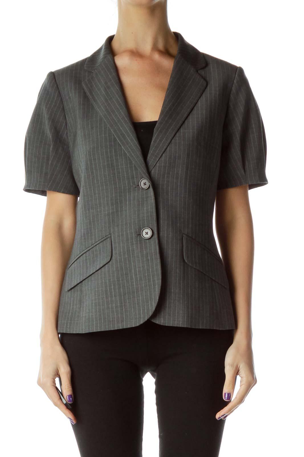 Gray Pinstripe Suit Jacket