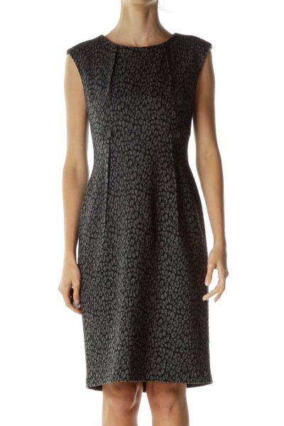 Gray Black Cheetah Print Work Dress
