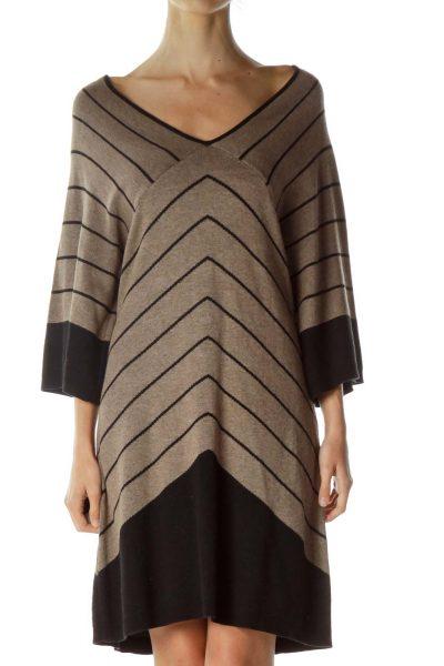 Brown Black Striped Knit Dress