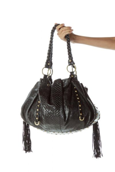 Black Fringe Studded Shoulder Bag
