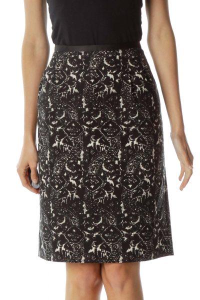 Black Beige Print Pencil Skirt