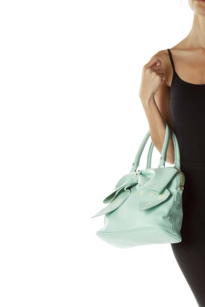 Mint Green Shoulder Bag with Bow
