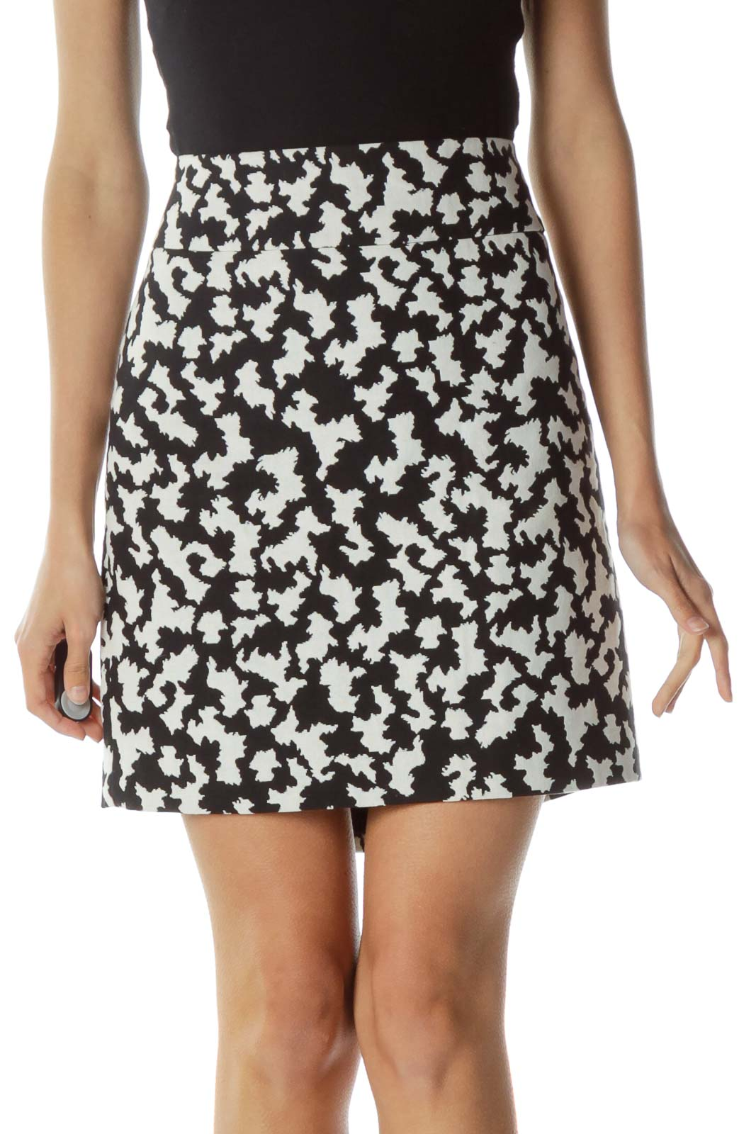 Black Cream Print Mini Skirt