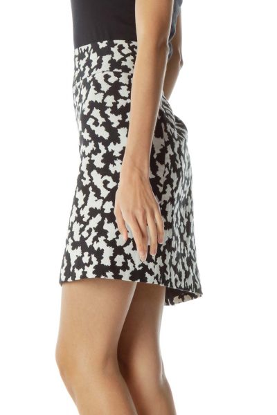 Black Cream Print Mini Skirt
