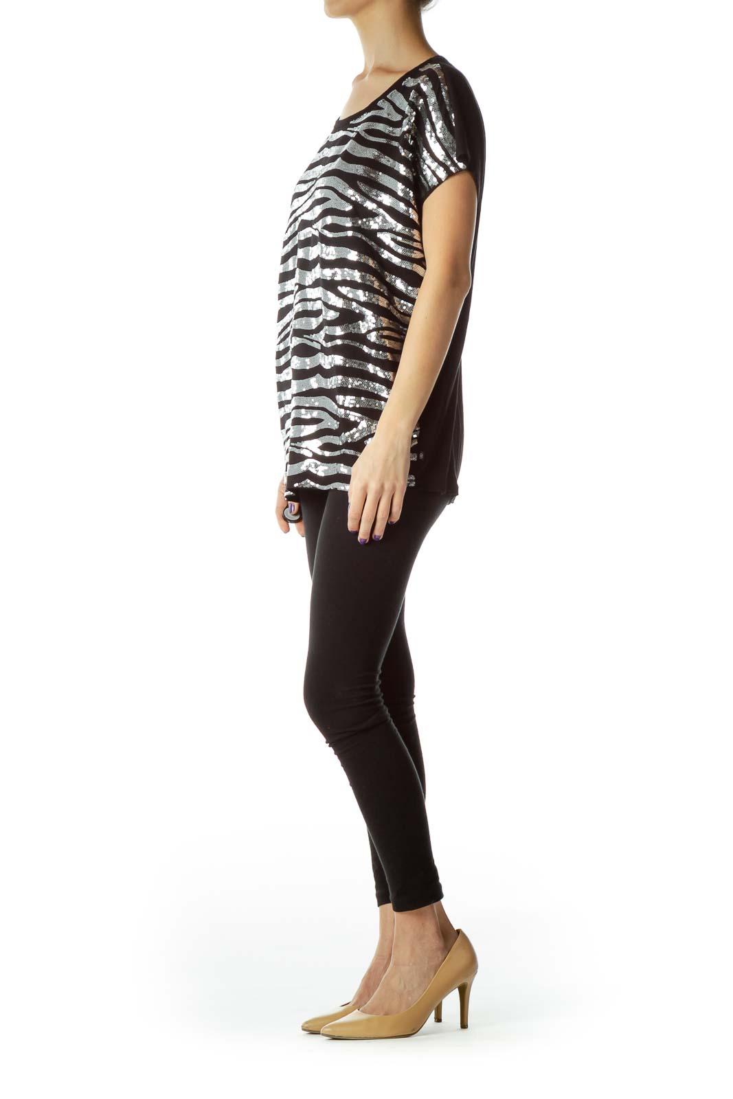 Black Sequined Short Sleeve T-Shirt