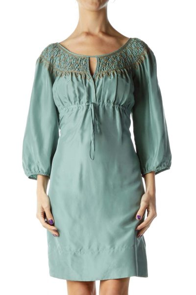 Green Silk Empire Waist Dress