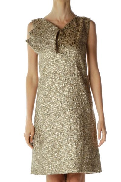 Gold Shift Dress with Ruffle Detail