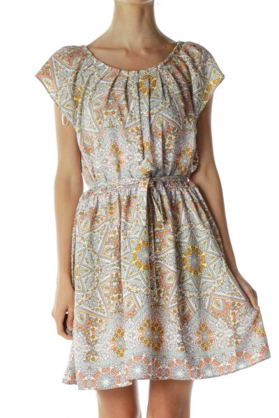 Pink Printed A-Line Day Dress