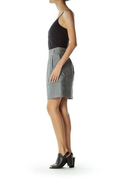 Gray Pleated Tweed Skirt