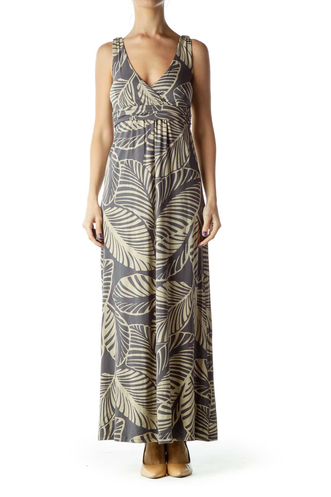 Gray Tan Leaf Print Maxi Dress