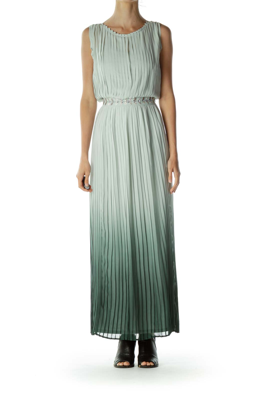 Green Pleated Evening Dress