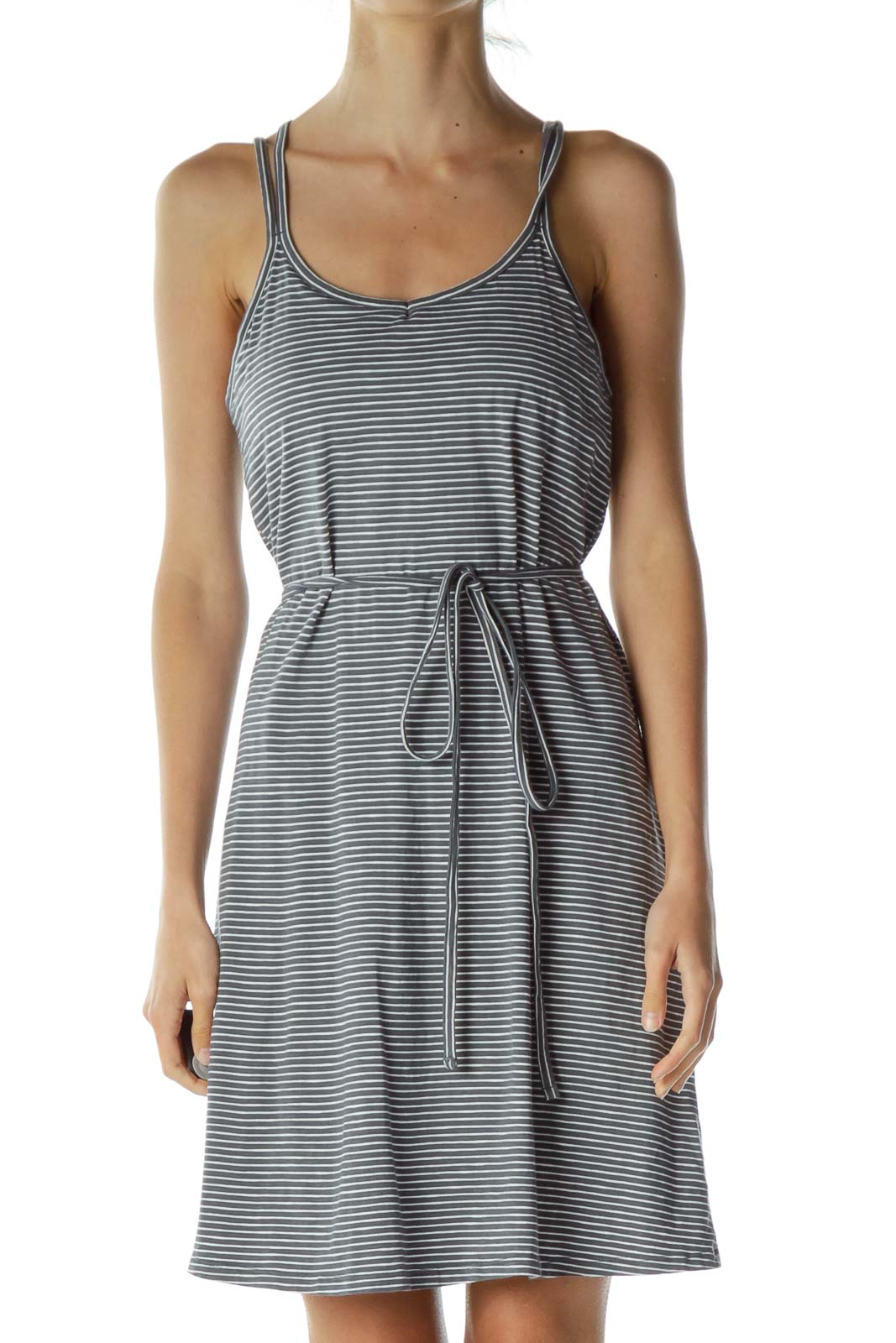 Gray White Striped Athletic Dress
