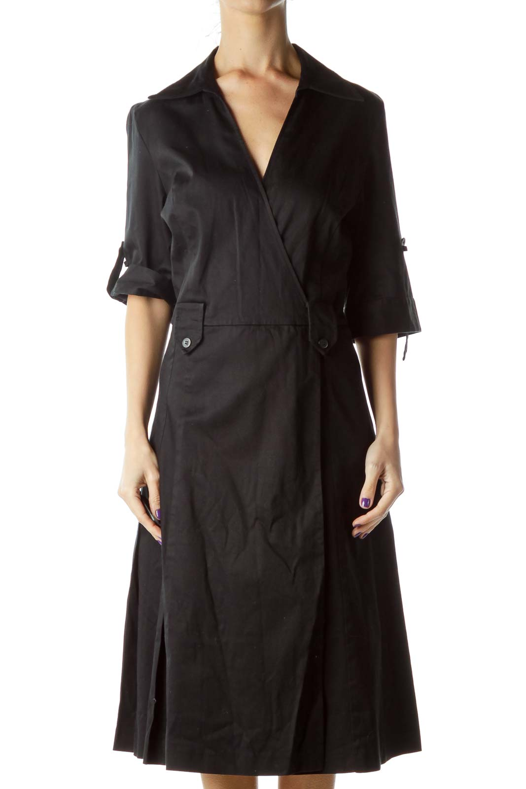 Black Pleated Collared Shirt Dress