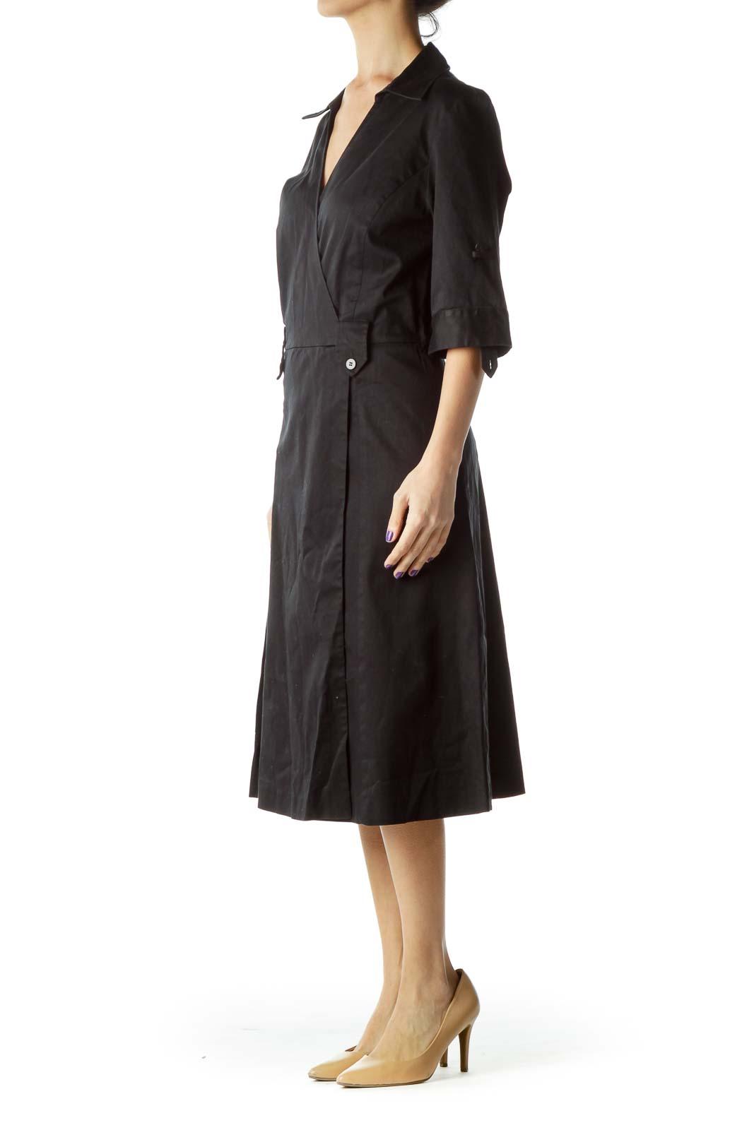 Black Pleated Collared Shirt Dress