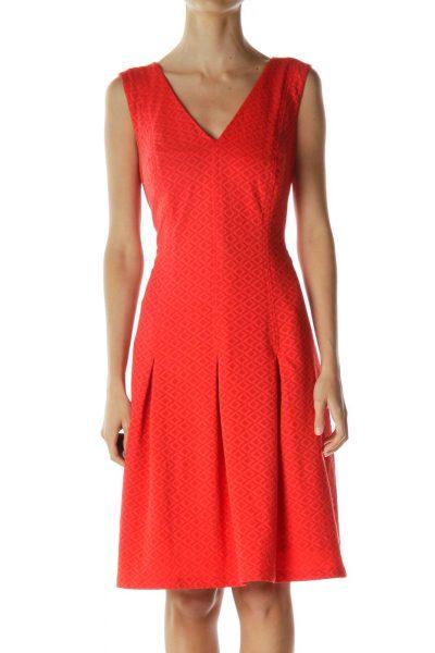 Red Tribal Print Cocktail Dress
