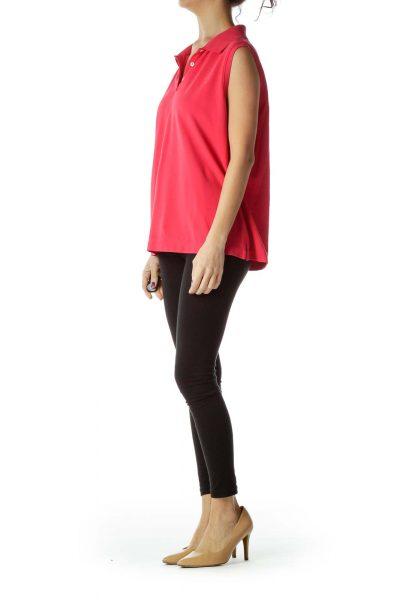 Pink Sleeveless Polo Shirt