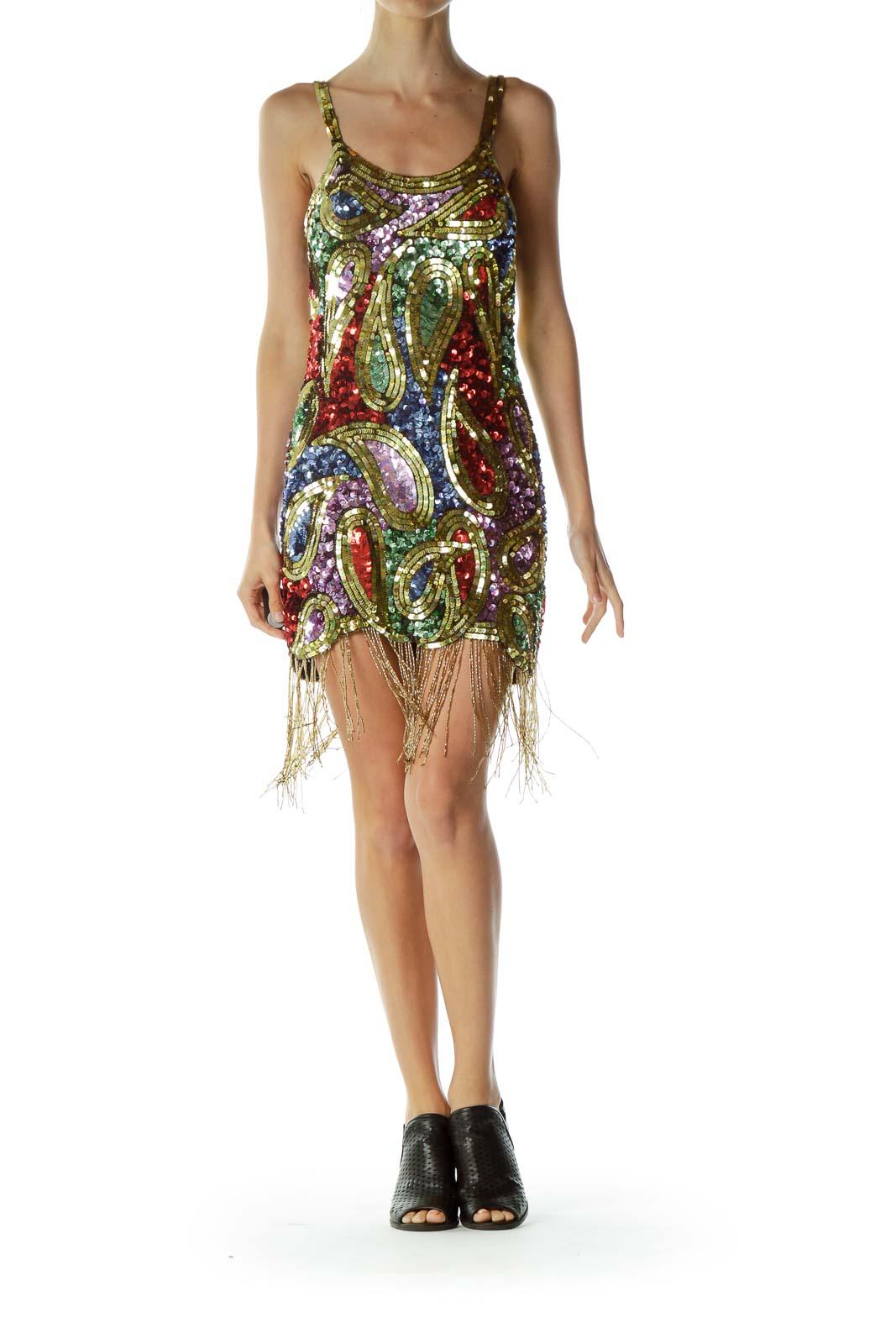 Multicolor Sequin Fringe Cocktail Dress