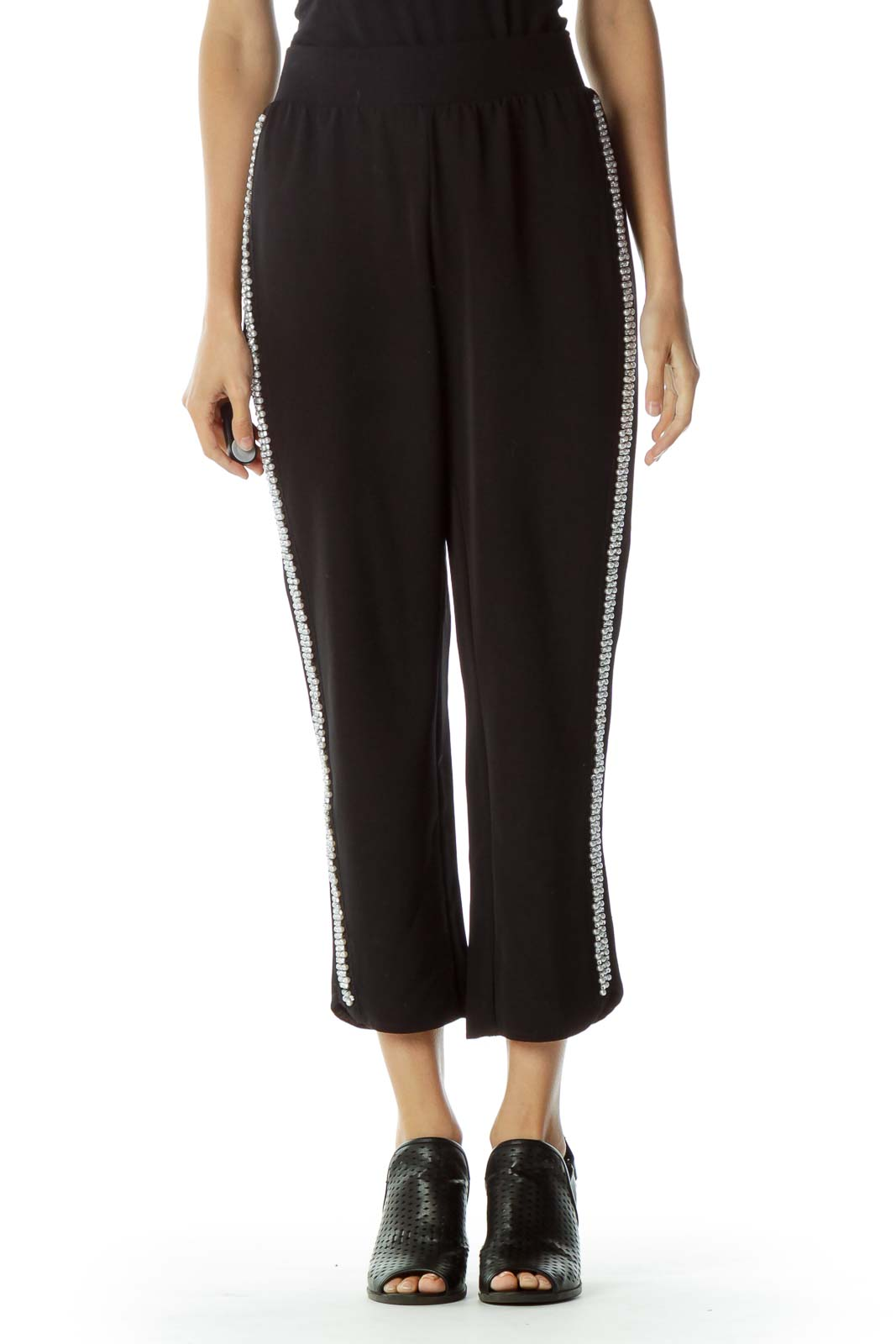 Black Beaded Track Pant