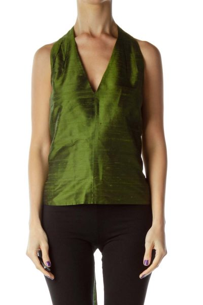 Green Silk V-Neck Bow Blouse