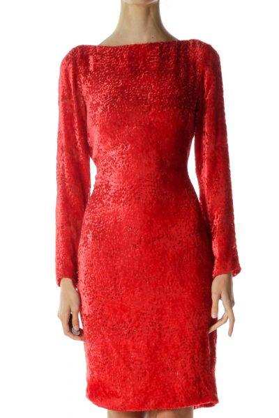 Red Velvet Metallic Christmas Party Dress