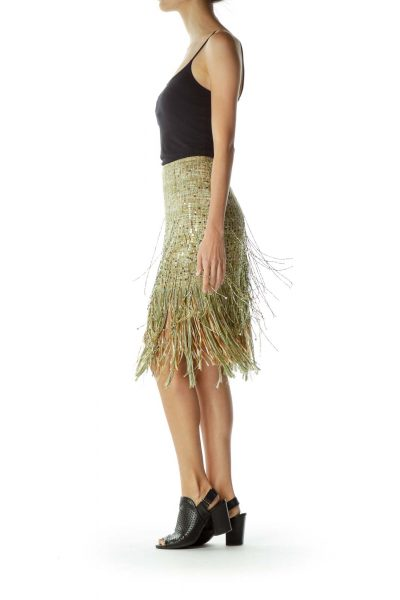 Green Fringe Tweed Mini Skirt
