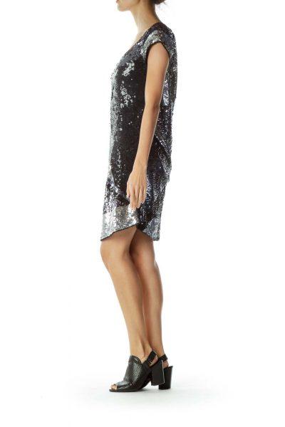 Black Gray Sequin Dress