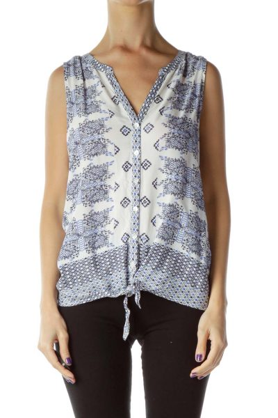 White Blue Buttoned Sleeveless Blouse